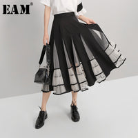 [EAM] Mesh Spliced Pleated Perspective Loose High Waist Half-body Skirt Black Women Fashion Tide New Spring Autumn 2019 1A184