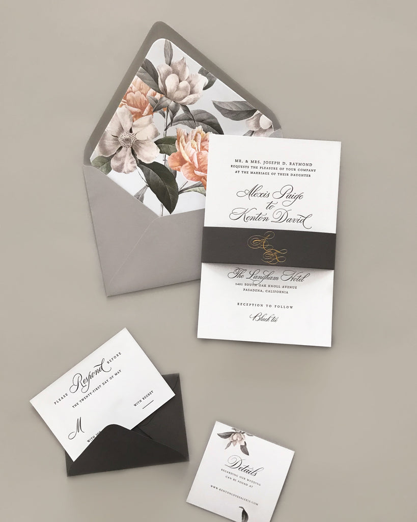 Alexis Traditional Floral Letterpress Invitations
