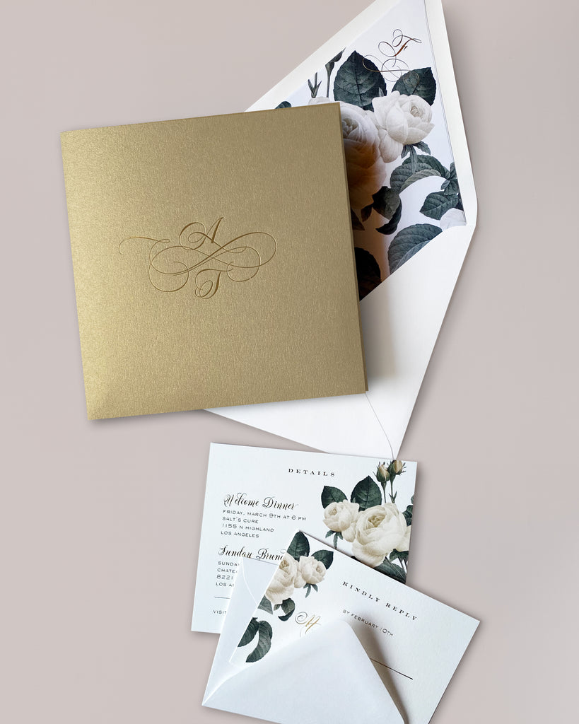 Anna Foil and Floral Wedding Invite