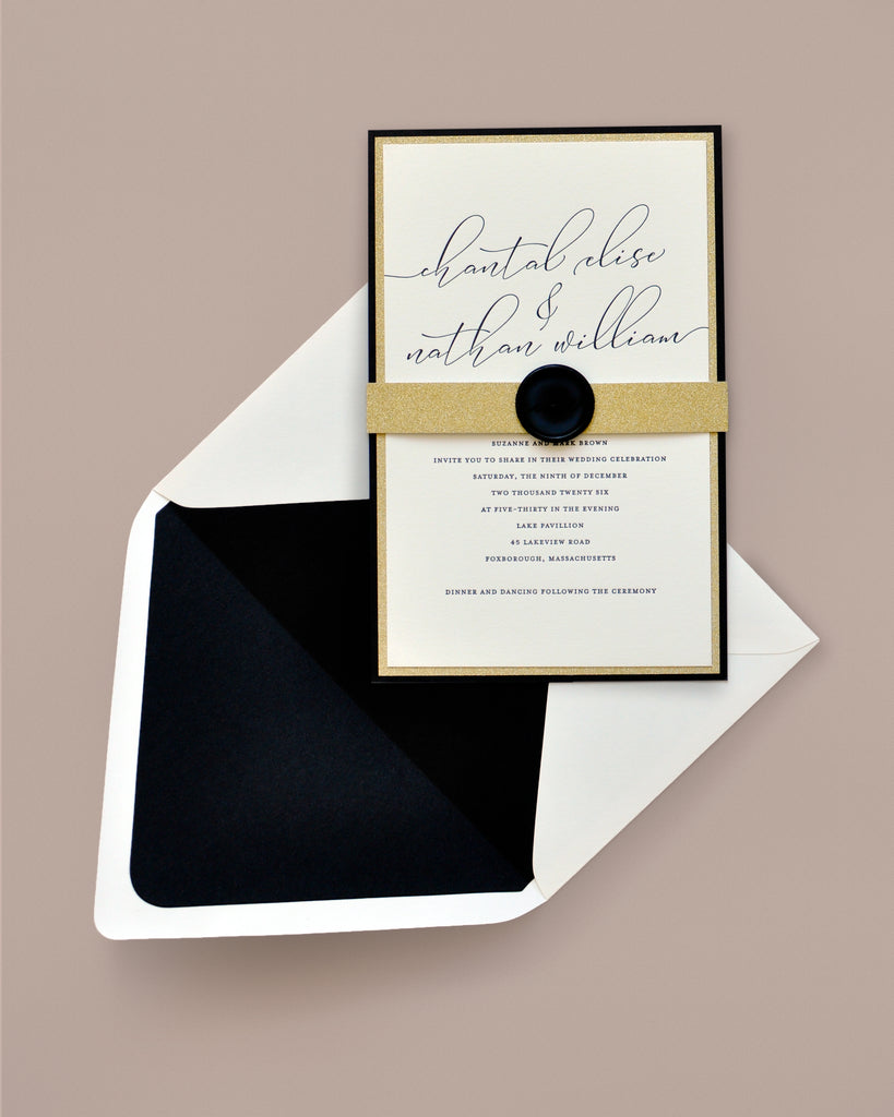 Chantal Black and Gold Glitter Invitation