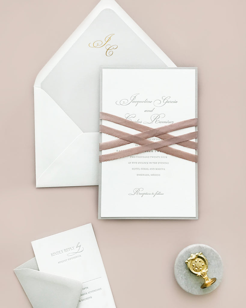 Jacqueline Traditional Letterpress Wedding Invite