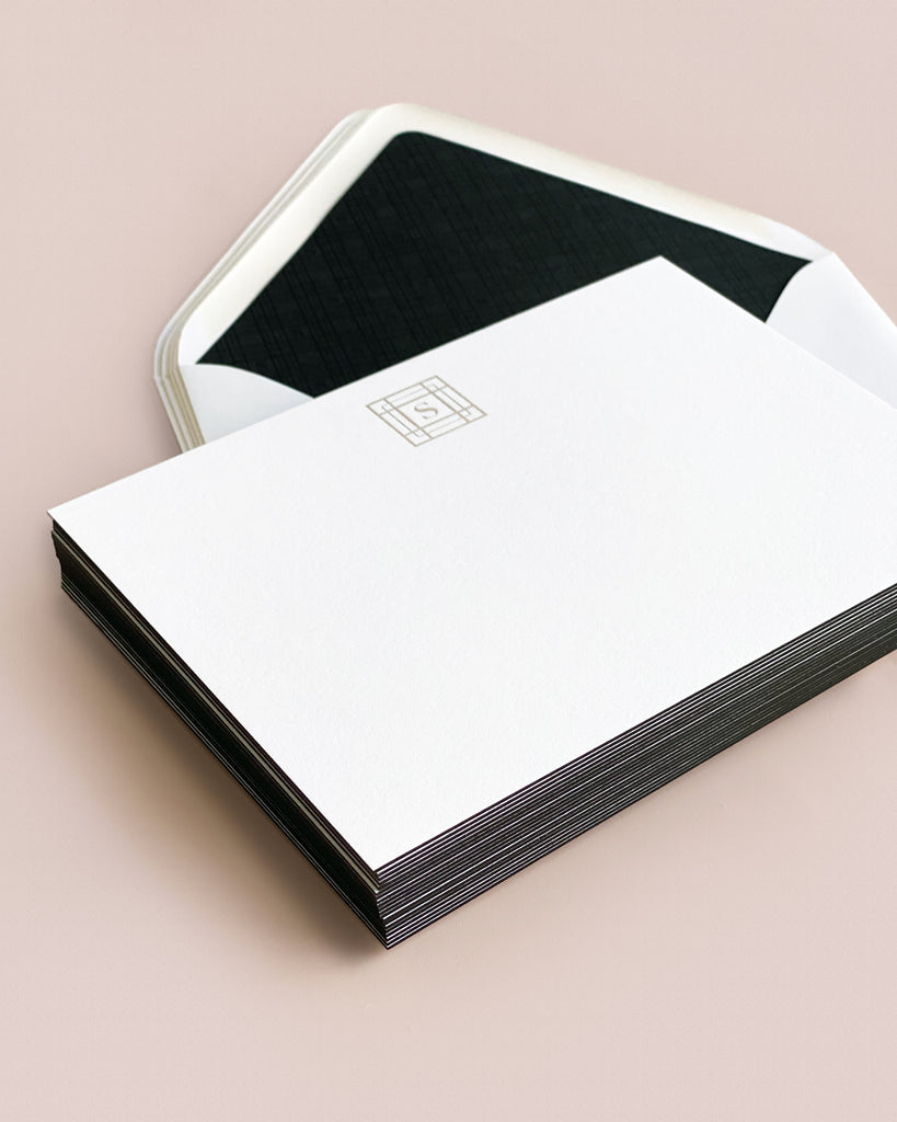 Classic Stationery with Black Edge Painting