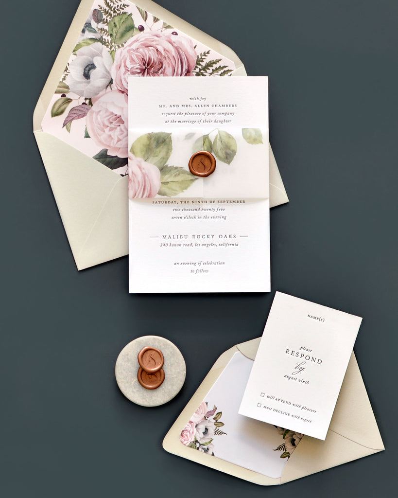 Sydney Floral Letterpress Wedding Invites