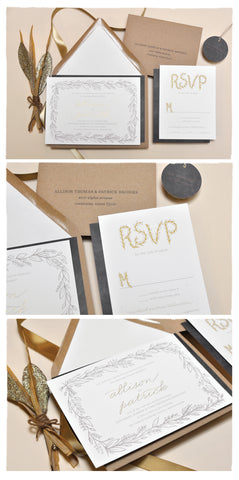 Baby's Breath with Foil Wedding Invitation Suite