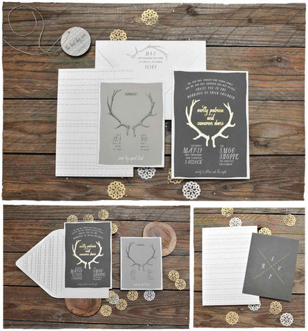 Antler with Foil Wedding Invitation Suite