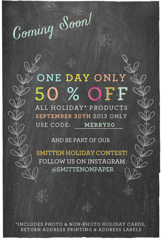 September 30th Sale & Smitten Holiday Contest!