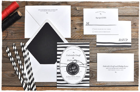 Casual Stripe Wedding Invitation Suite