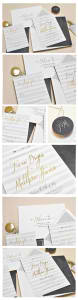 Chalkboard Arrows with Foil Wedding Invitation Suite