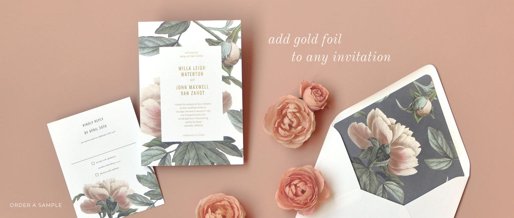 add gold foil to any invitation - order a sample