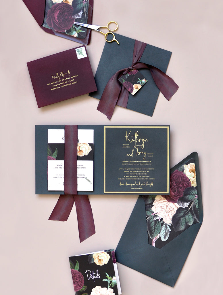 Kathryn and Terry Custom Wedding invite with florals and matte gold foil