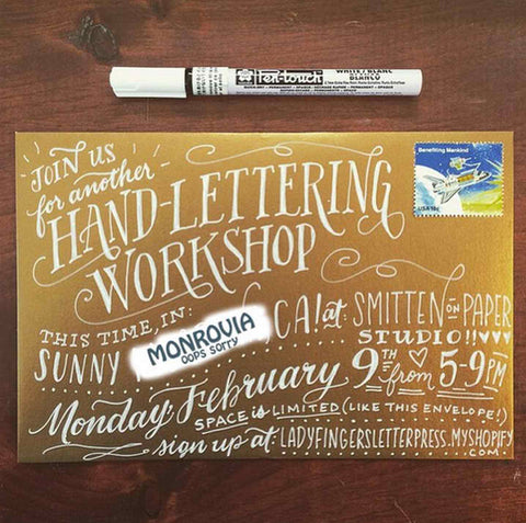 Hand-Lettering with Ladyfingers Letterpress