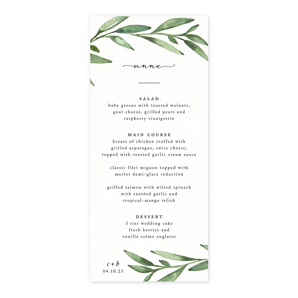 Luxe Menu with Guest Name
