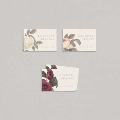 Elizabeth Business Cards Floral + Foil
