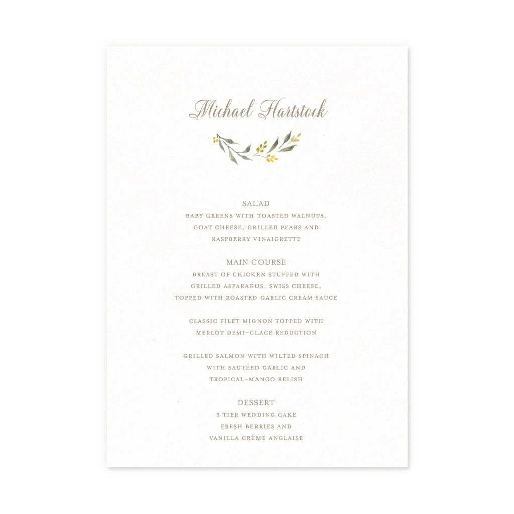 Menus with guest name – Smitten on Paper