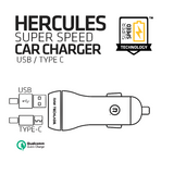 Hercules Super Speed Car Charger - USB/Type C (Black)