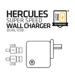 Hercules Super Speed Wall Charger - Dual USB (Black)