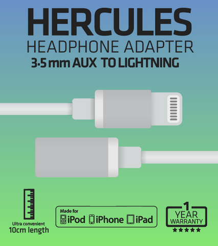 HERCULES HEADPHONE ADAPTER 3.5 mm AUX to LIGHTNING