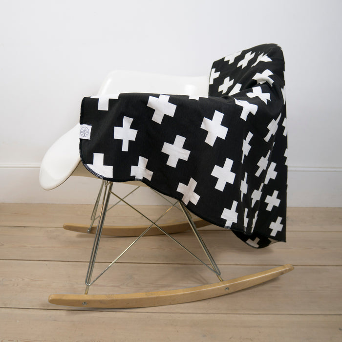 Blanket in Black Cross print
