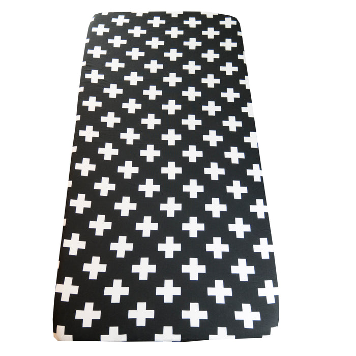 Cot sheet in Black Cross print