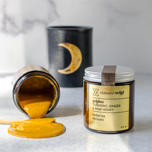 Golden milk concentrate and herbal electuary tea with turmeric, ginger and raw honey