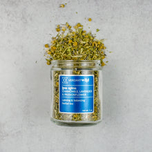 Load image into Gallery viewer, herbal tea with chamomile, lavender, passionflower and oatstraw, open to show texture