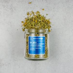 herbal tea with chamomile, lavender, passionflower and oatstraw, open to show texture