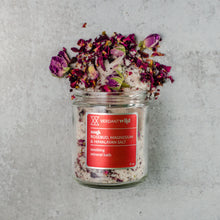 Load image into Gallery viewer, rose, epsom and himalayan bath salts texture