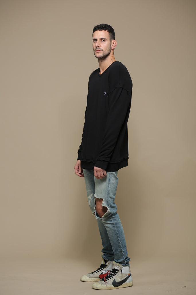 Black Oversized Logo Sweatshirt