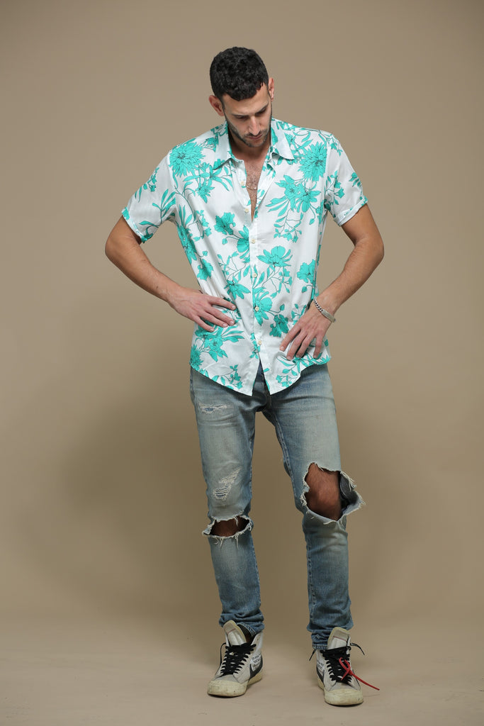 Short Sleeves Tropical Button Down Shirt