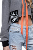 W Cropped Hoodie Orange Grey