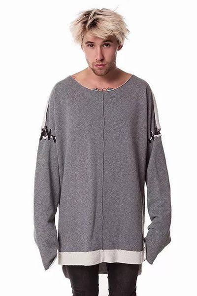 Crew - neck Laced Grey