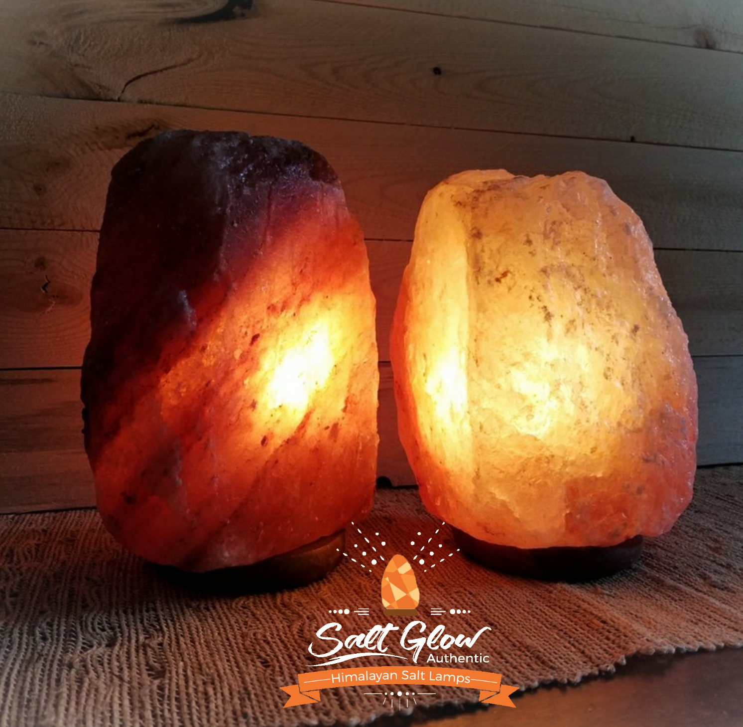 Deep Amber and pink Himalayan Salt Lamp on table
