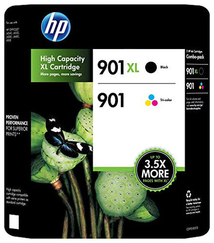HP 901XL/901 Ink Cartridge, Black/Multicolor, Pack of 2, (CZ722FN)