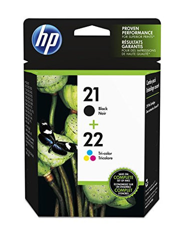 HP 21 Black & 22 Tri-color Original Ink Cartridges, 2 Cartridges (C9509FN)
