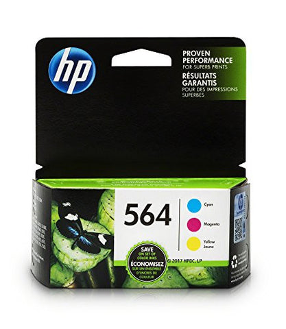 HP 564 Cyan, Magenta & Yellow Original Ink Cartridges, 3 Cartridges (N9H57FN)