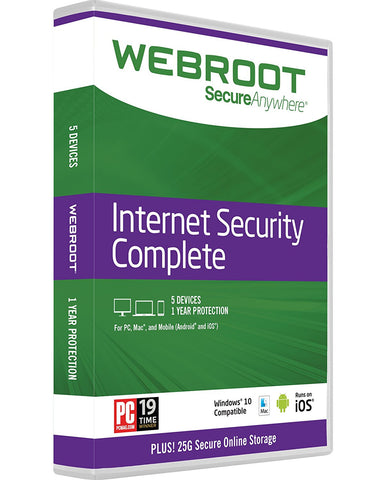 Webroot Internet Security Complete + Antivirus 2017 | PC/Mac Disc | 5 Device | 1 Year