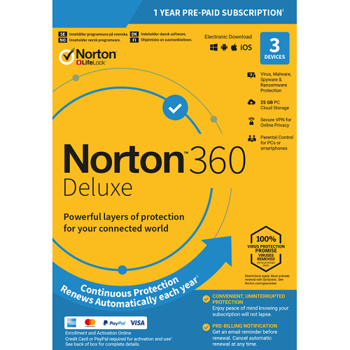 Norton 360 Deluxe - 1-Year / 3-Device - Global