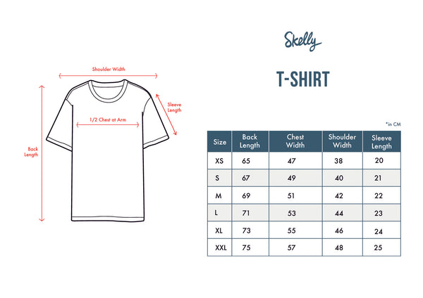 Skelly T-shirt Unisex Size Chart