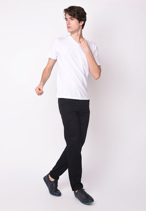 Guardian V Neck Slub in White - Skellyshop Singapore | Skelly Original T-Shirts | skellyshop.co.uk