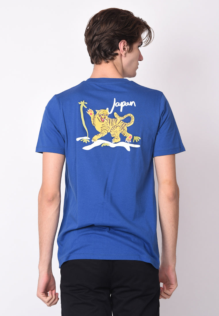 Japan Tiger Graphic T-Shirt in Blue - Skellyshop Singapore | Skellyshop Singapore T-Shirts | skellyshop.co.uk