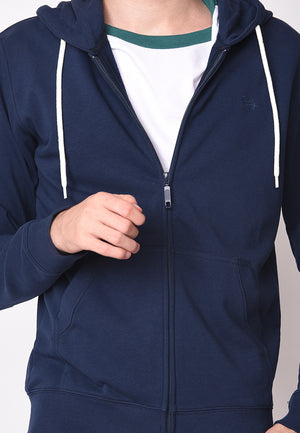 Zip Hooded Sweatshirt in Navy French Terry - Skellyshop Singapore | Skelly Sweatshirts | skellyshop.co.uk