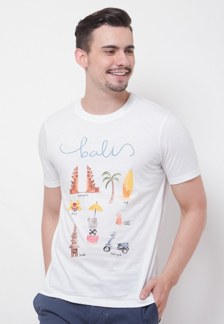 Bali Graphic T-shirt in White - Skellyshop Singapore | Skelly Original T-Shirts | skellyshop.co.uk