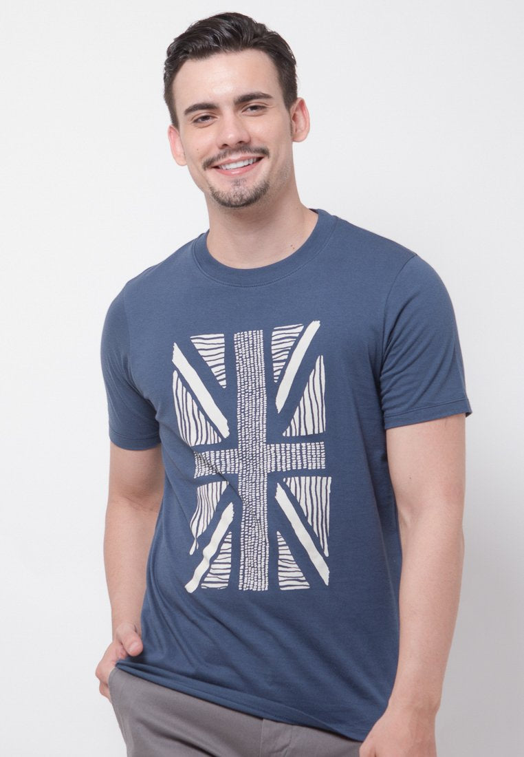 UK Flash Graphic T-shirt in Navy - Skellyshop Singapore | Skelly Original T-Shirts | skellyshop.co.uk