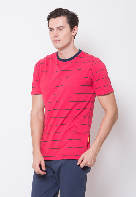 Chester Finer Stripe T-shirt Red