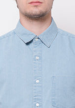 Stalwart Short Sleeve Denim Shirts in Light Blue - Skellyshop Singapore | Skelly Collective Shirts | skellyshop.co.uk