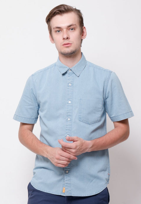 Stalwart Short Sleeve Denim Shirts in Light Blue