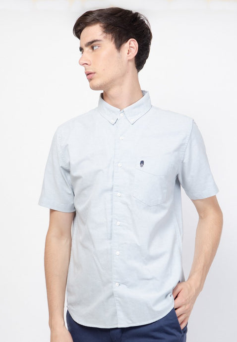 Guardian Hiro Oxford SS Shirt in Dusty Blue - Skellyshop Singapore | Skelly Original Shirts | skellyshop.co.uk