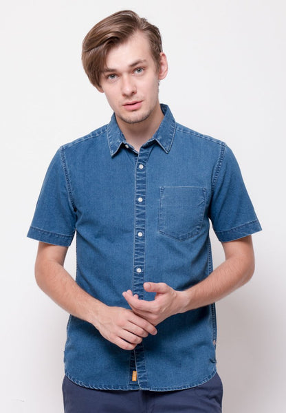 Stalwart Short Sleeve Denim Shirts in Medium Blue - Skellyshop Singapore | Skelly Collective Shirts | skellyshop.co.uk