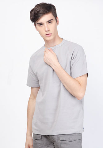 Waffle Henley Raglan in Grey - Skellyshop Singapore | Skelly Original T-Shirts | skellyshop.co.uk