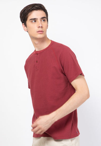 Waffle Henley Raglan in Maroon - Skellyshop Singapore | Skelly Original T-Shirts | skellyshop.co.uk